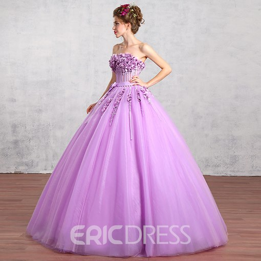 Ericdress Strapless Ball Gown Flowers Floor-Length Quinceanera Dress