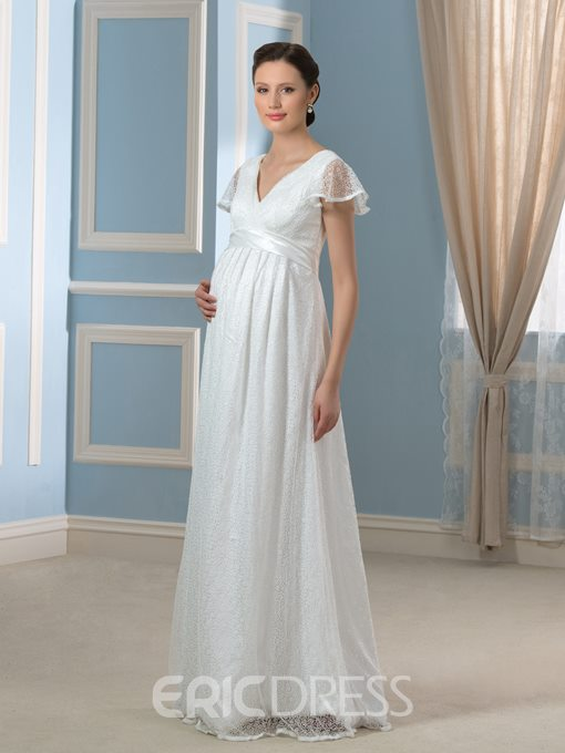Ericdress Pretty A Line Lace Maternity Wedding Dress