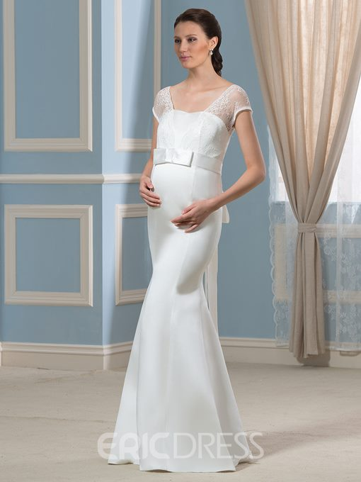 Ericdress Charming Short Sleeves Lace Mermaid Maternity Wedding Dress