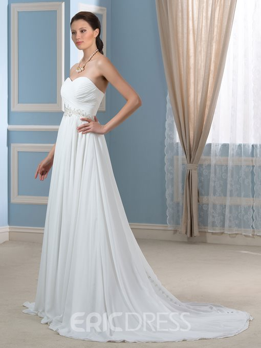 Ericdress Sweetheart Pleats Beading Beach Wedding Dress