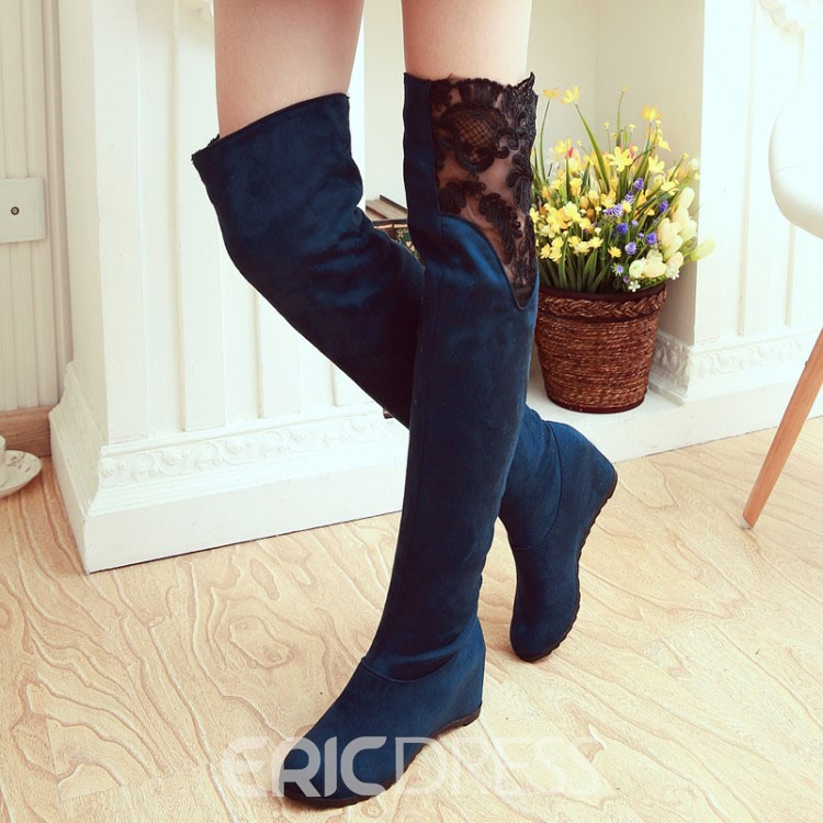 Ericdress Pretty Girl Lace Knee High Boots
