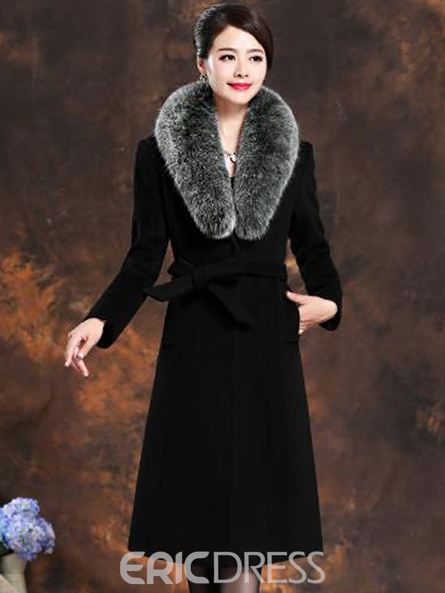 Ericdress Woolen Luxury Fox Fur Collar Coat