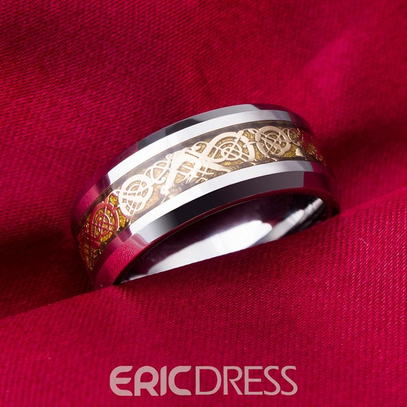 Pattern Decorated Men's Tungsten Ring