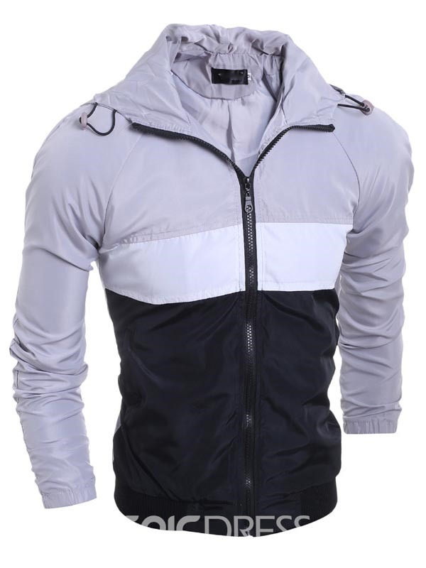 Ericdress Color Block Zip Biker Men's Jacket