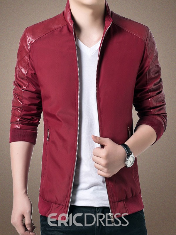 Ericdress Slim Stand Collar Zip Patched Men's Jacket