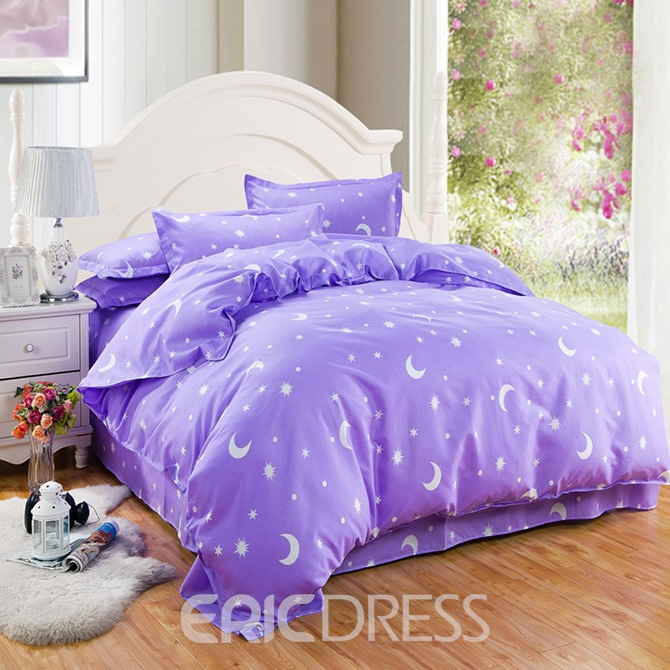 Vivilinen Stars and Moon Print Purple 4-Piece Duvet Cover Sets