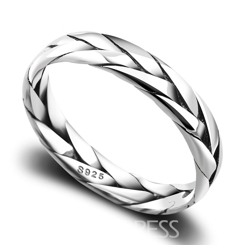 Stylish Woven Design Men's 925 Sterling Silver Ring
