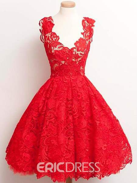 Ericdress Prom V-Neck Ball Gown Lace Dress