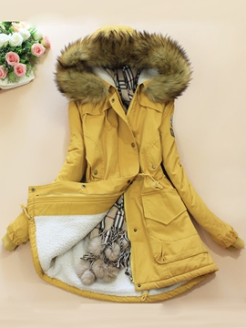 Ericdress Korean Long Slim Fur Coat