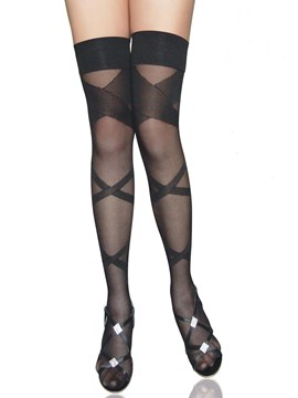 Ericdress Cross Stripe Thigh Length Stocking
