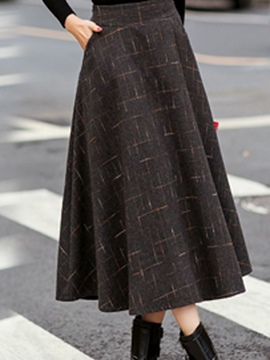 Ericdress Thicken Plaid A-line Long Skirt