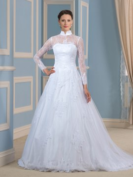 Ericdress Pretty High Neck Long Sleeves Lace Wedding Dress