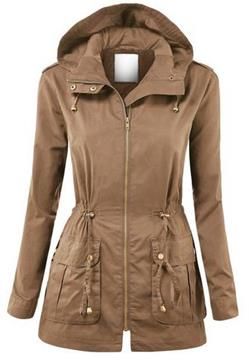 Ericdress Zipper Hooded Jacket