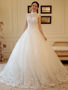 Ericdress Pretty High Neck Appliques Ball Gown Wedding Dress