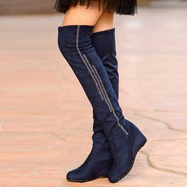 Ericdress Knee High Boots with Rhinestone