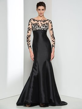 Ericdress Long Sleeve Appliques Beading Evening Dress