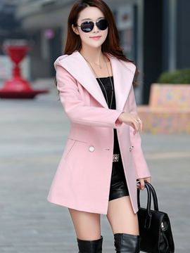 Ericdress Plain Hooded Coat