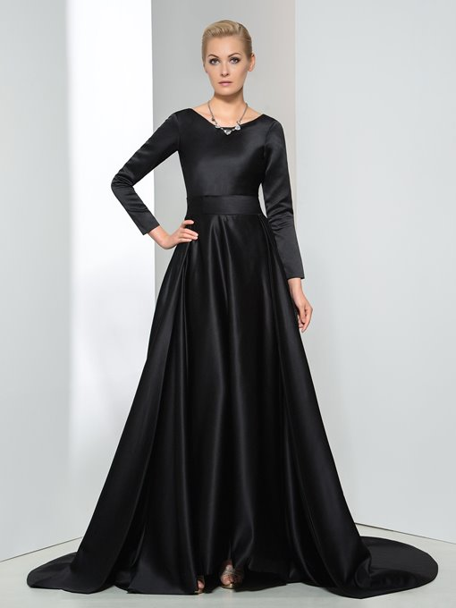 Ericdress Long Sleeves Bowknot Chapel Train Evening Dress Black Wedding Dresses