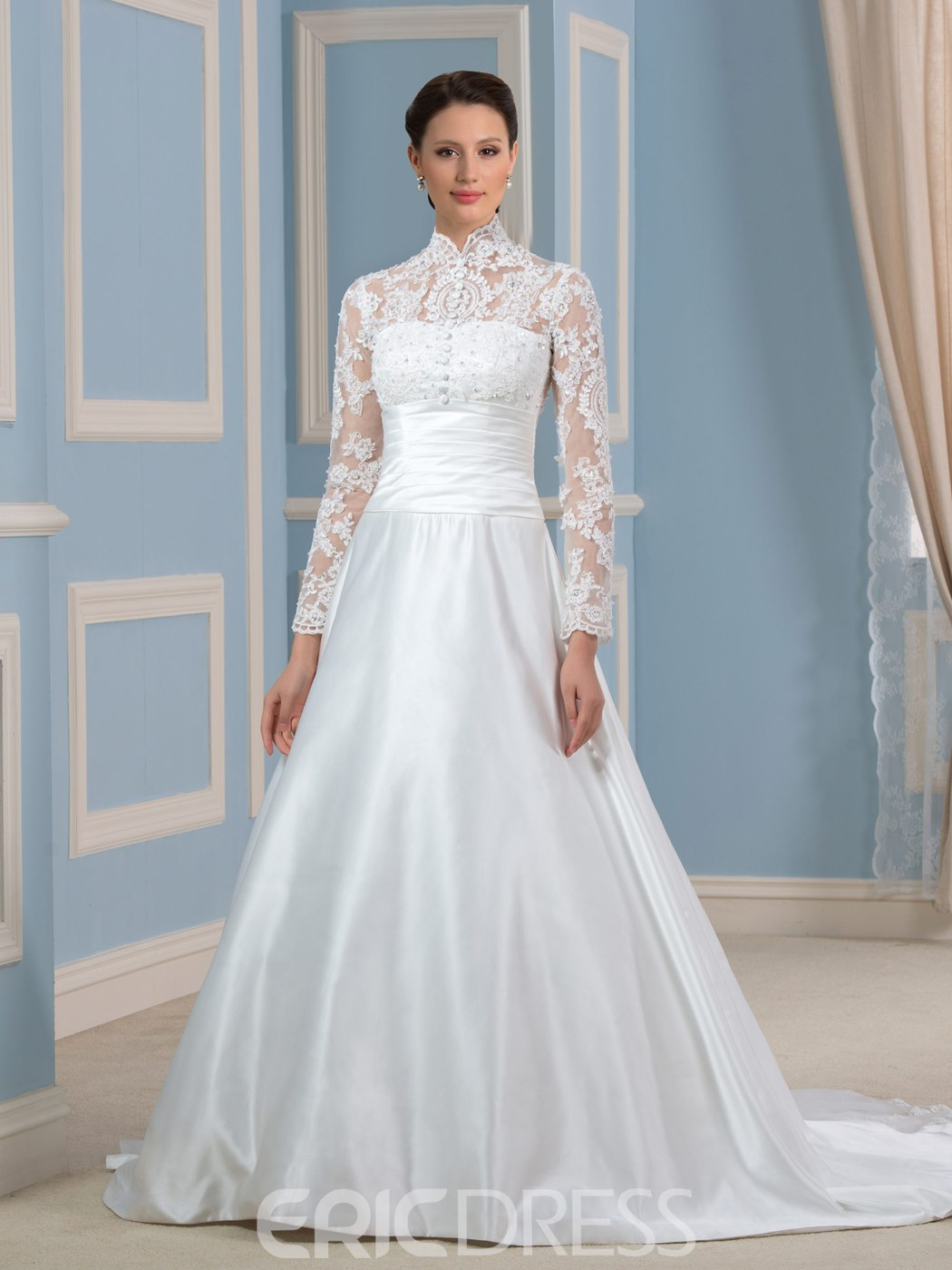 Ericdress Elegant High Neck A Line Long Sleeves Wedding Dress ...