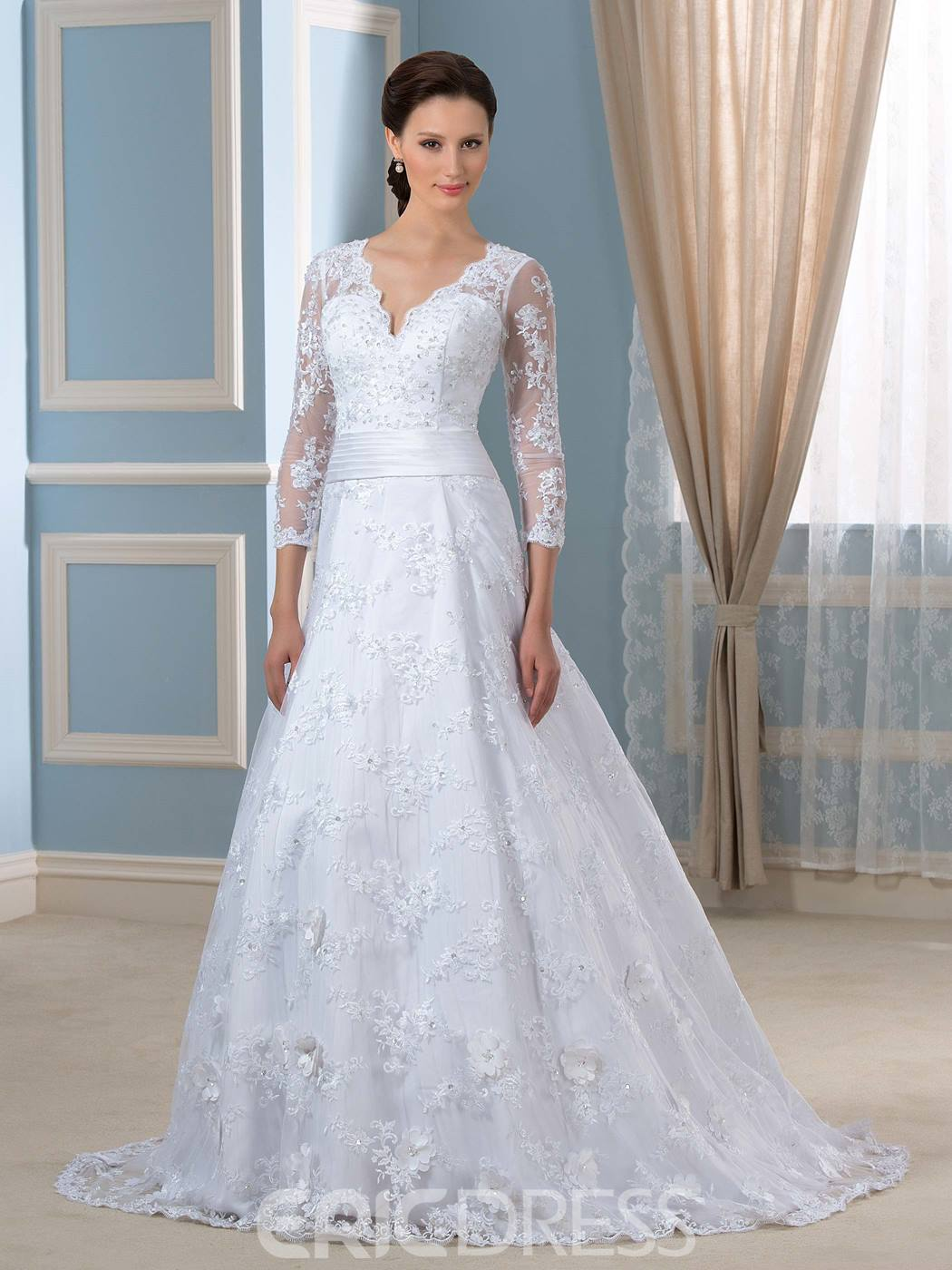 Ericdress Elegant V Neck 3/4 Length Sleeves A Line Wedding Dress
