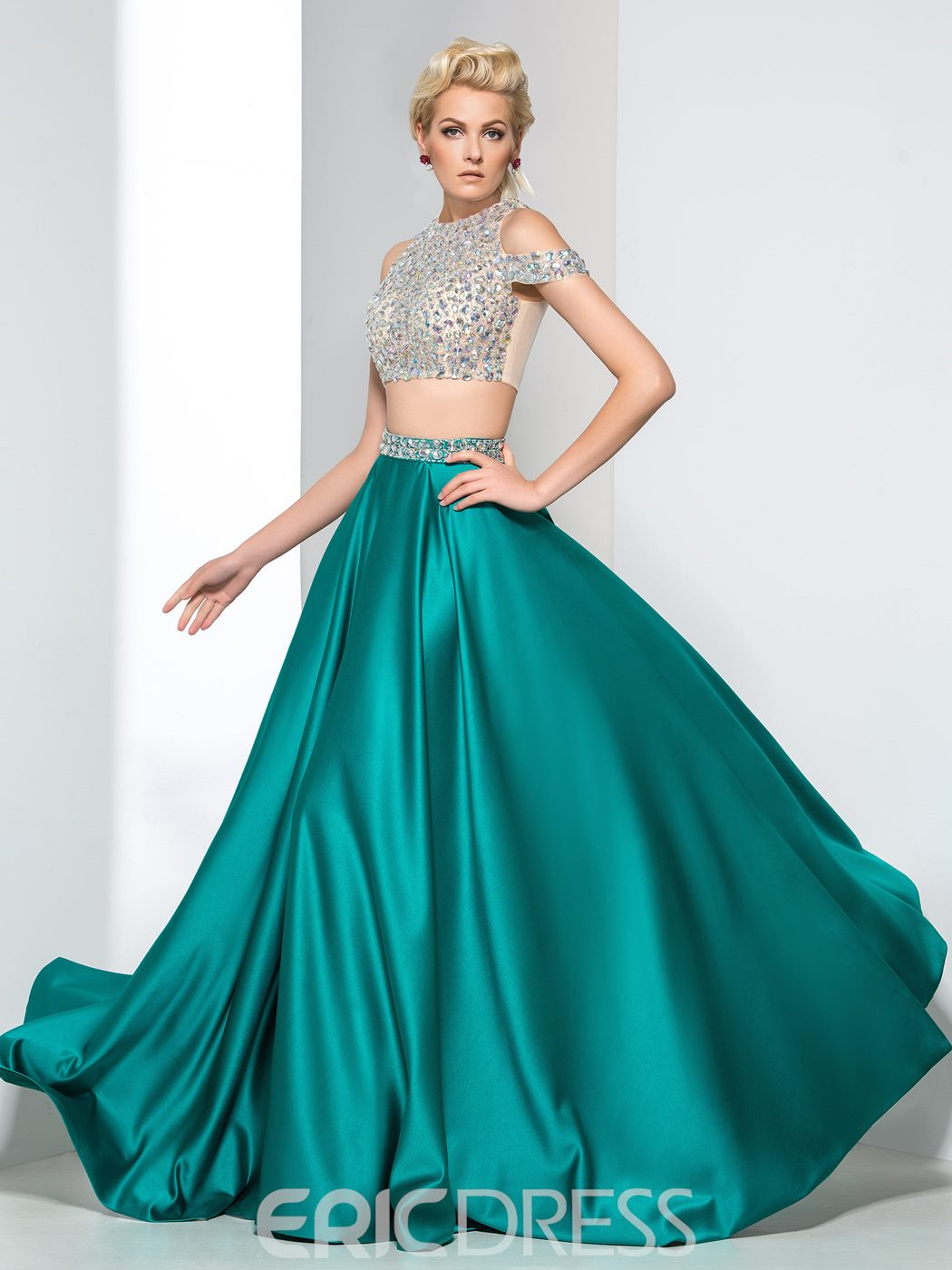 Ericdress A-Line Two-Piece Beading Prom Dress