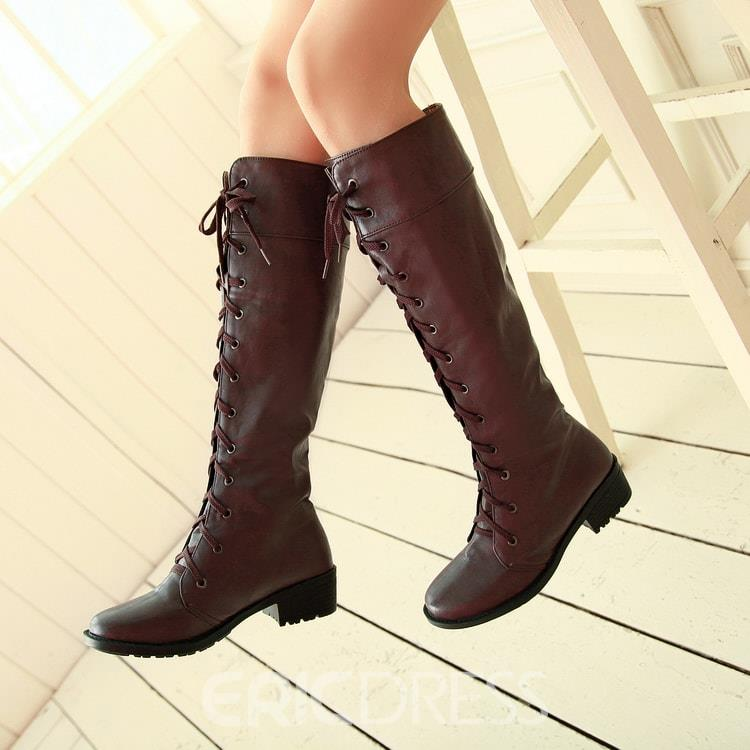 Ericdress Lace-up Knee High Boots