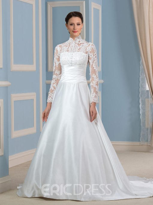 Ericdress Elegant High Neck A Line Long Sleeves Wedding Dress