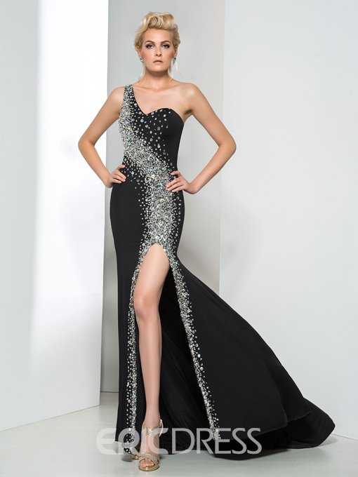 Ericdress One-Shoulder Beading Side-Split Evening Dress