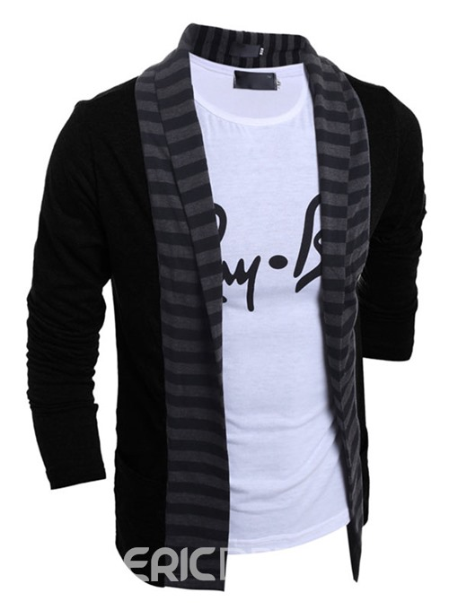 Ericdress Color Block Stripe Cardigan Men's Sweater