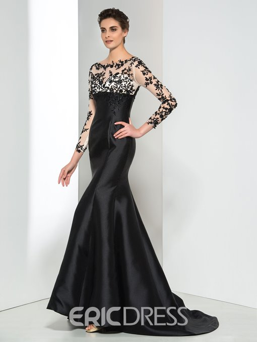 Ericdress Long Sleeve Appliques durchsichtig Evening Dress