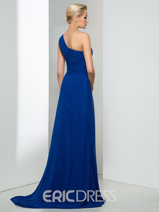 Concise One shoulder Ruched A line Sweep Train Evening Dress