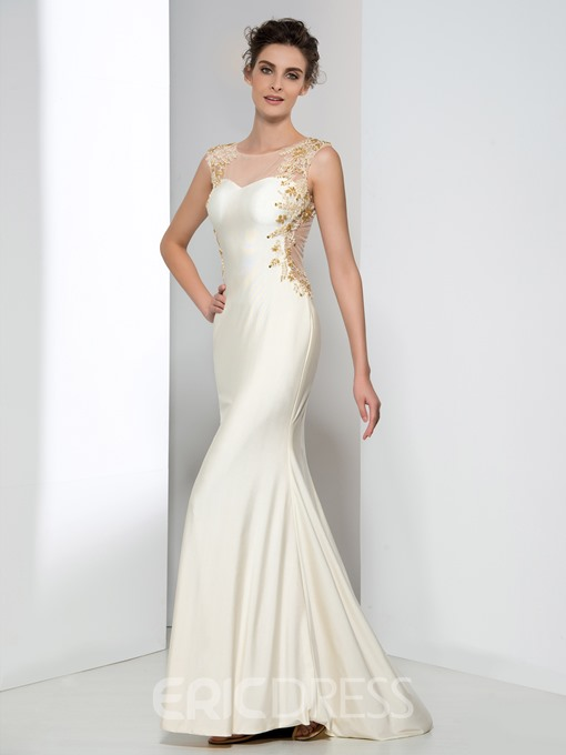 Ericdress Sheath Appliques Beaded Evening Dress