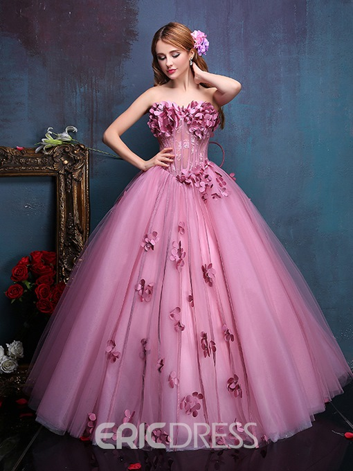 Ericdress Strapless Ball Gown Lace Flowers Beading Quinceanera Dress