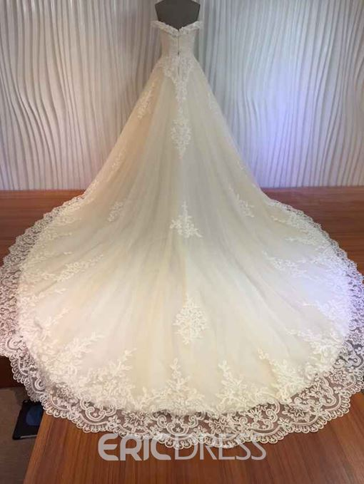 Ericdress High Quality Off the Shoulder Appliques Chapel Train Wedding Dress