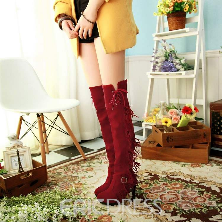Ericdress Chic Fringe Knee High Boots