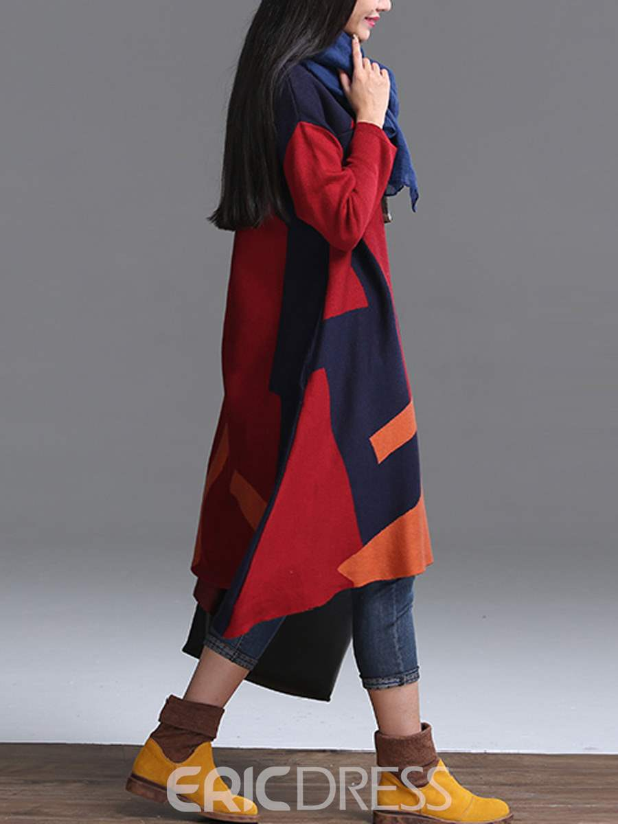 Ericdress Color Block Round Neck Asymmetric Knit Casual Dress