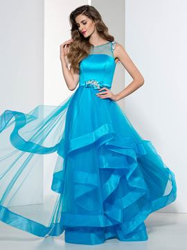 Ericdress a-line bördeln sashe tiered prom dress