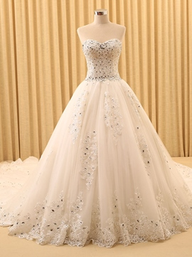 Ericdress Beading Ball Gown Sleeveless Chapel Hall Wedding Dress