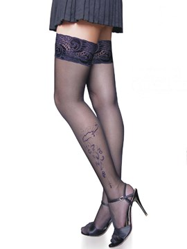 Ericdress Jacquard Thigh Length Black Stockings