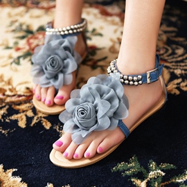 Roman Lace Flower Flat Sandals with Beads