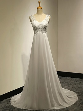 Ericdress Casual V Neck Appliques A Line Chiffon Wedding Dress