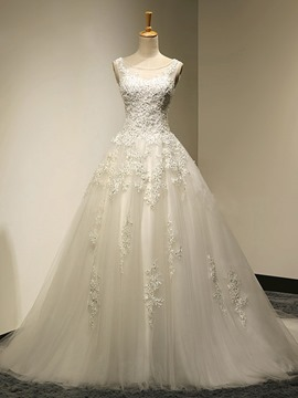 Ericdress Beautiful Scoop Appliques Lace Up Wedding Dress