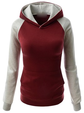 Ericdress Simple Color Block Hooded Hoodie
