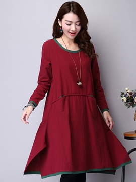 Ericdress Plain Pocket Round Neck Casual Dress