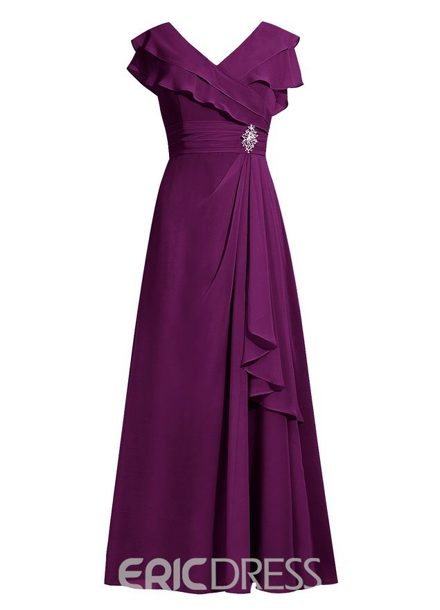 Ericdress Elegant V Neck A Line Mother of the Bride Dress