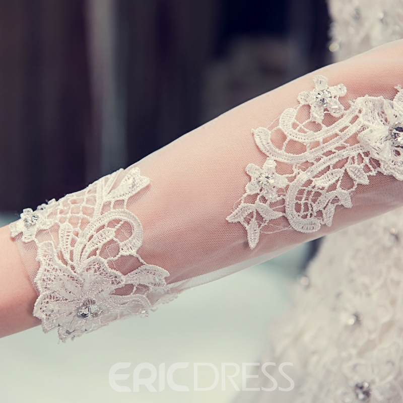 Ericdress Sheer Neck Appliques Wedding Dress with Long Sleeve