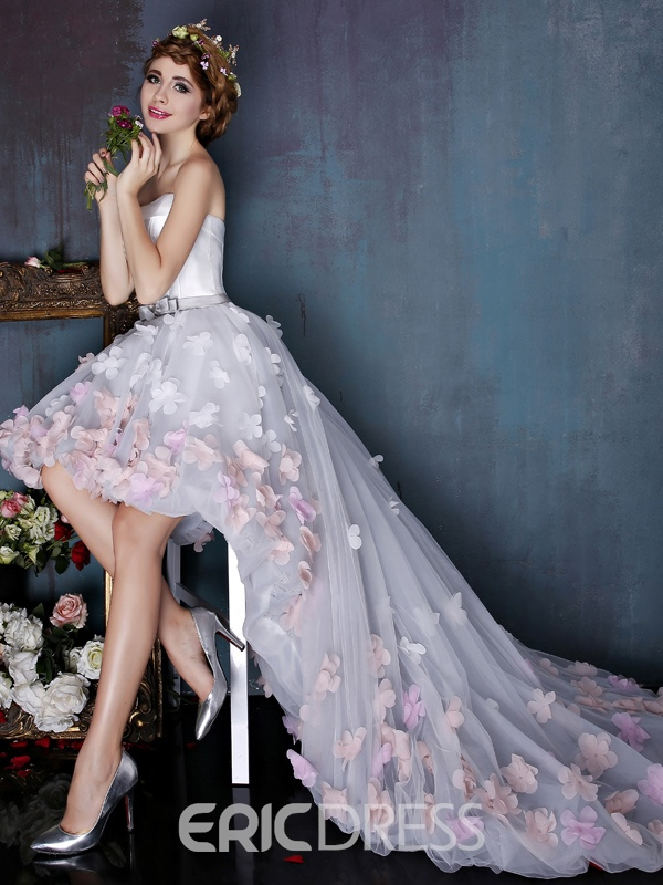 Ericdress Strapless Flowers Asymmetry Beach Wedding Dress
