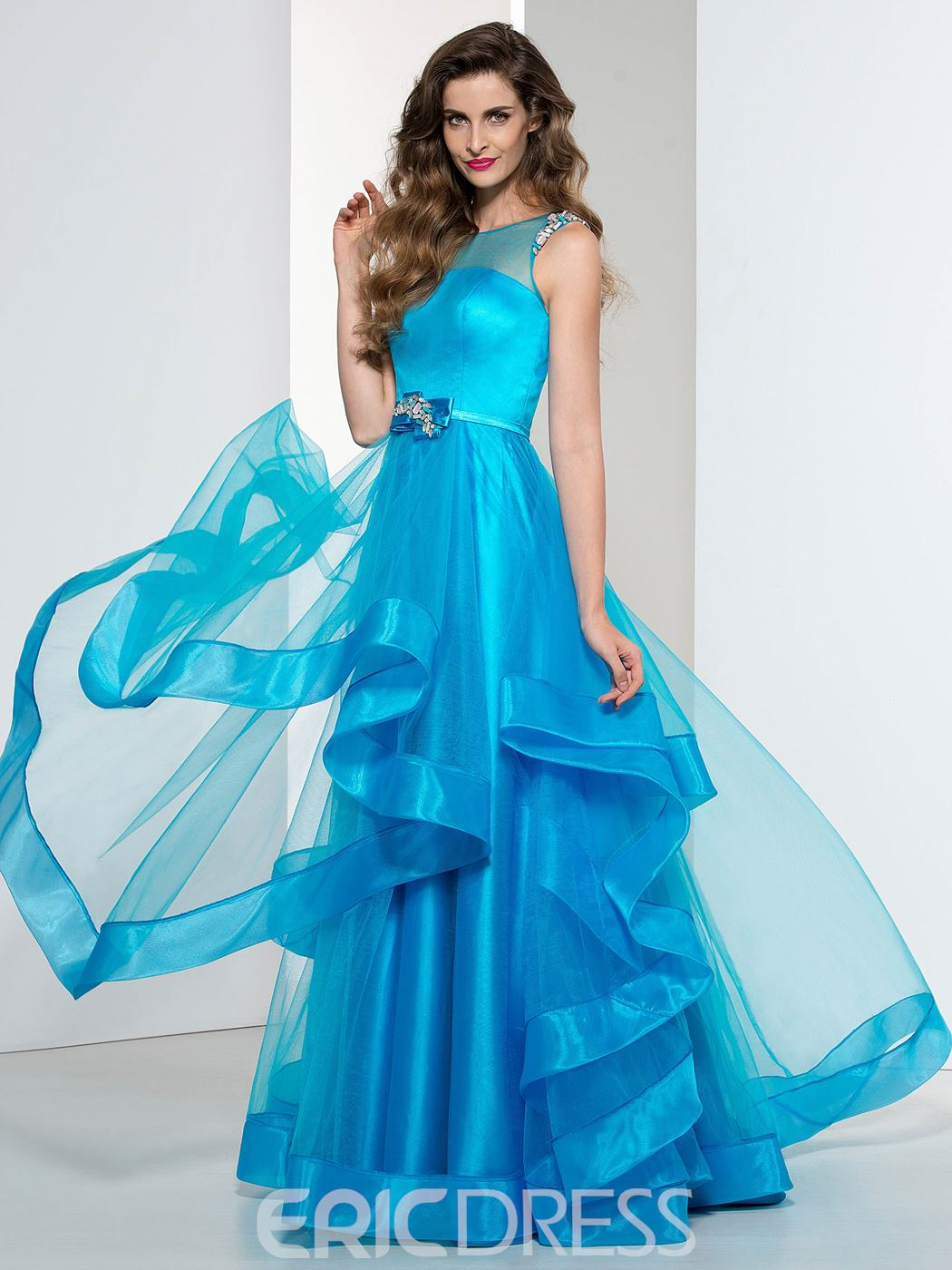Ericdress A-Line Beading Sashe Tiered Prom Dress