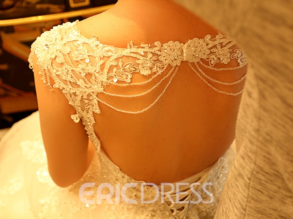 Ericdress Gorgeous Scoop Appliques Beadings Cathedral Train Wedding Dress