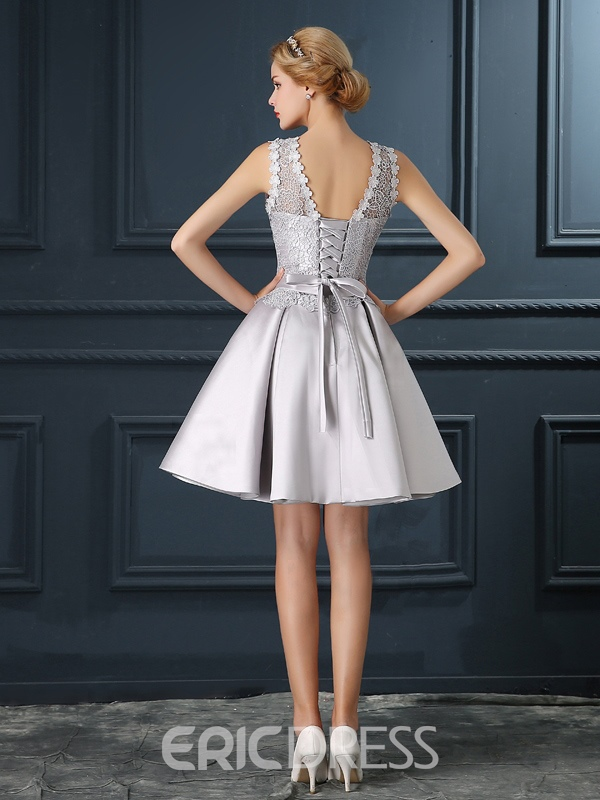 Ericdress Delicate Short A-Line Bowknot Lace Cocktail Party Dress